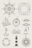Sea Ship Set Icon Stock Images