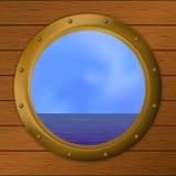 Sea in a ship window Stock Image