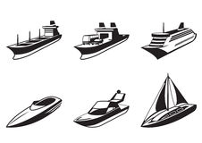 Sea ships and boats in perspective. Vector illustration Royalty Free Stock Photo