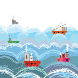 Sea and ships cartoon background Royalty Free Stock Photo