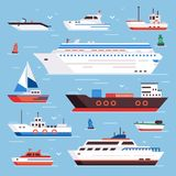 Sea ships. Cartoon boat powerboat cruise liner navy shipping ship and fishing boats isolated front view vector. Sea ships. Cartoon boat powerboat cruise liner royalty free illustration