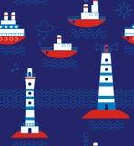 Sea, ships, lighthouses, seagulls, clouds, sun Stock Image