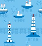 Sea, ships, lighthouses, seagulls, clouds, sun Royalty Free Stock Photography