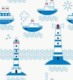 Sea, ships, lighthouses, seagulls, clouds, sun Royalty Free Stock Image