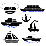 Sea Ships Silhouettes. Anchor Icon. Captain Hat Royalty Free Stock Photography