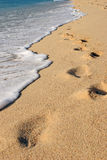 Sea Shore. Footprints in the sand being washed away by the ocean stock photo