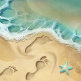 Sea shore. Digital illustration of sea shore and footprints on sand Royalty Free Stock Photography