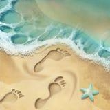Sea shore. Digital illustration of sea shore and footprints on sand royalty free illustration