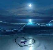 Sea shore. Digital illustration of sea shore with hesrt symbol on sand at night royalty free illustration