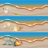 Sea shore banner set. For your text Royalty Free Stock Photo