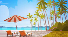 Sea Shore Beach With Deck Chairs Beautiful Seaside Landscape Summer Vacation Concept. Flat Vector Illustration stock illustration