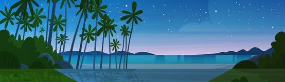 Sea Shore Beach After Sunset Beautiful Seaside Night Landscape Summer Vacation Concept. Flat Vector Illustration royalty free illustration