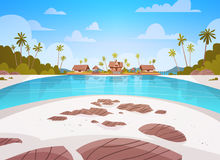 Sea Shore Beach With Villa Hotel Beautiful Seaside Landscape Summer Vacation Concept Royalty Free Stock Images