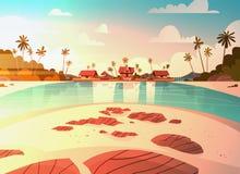 Sea Shore Beach With Villa Hotel Beautiful Sunset Seaside Landscape Summer Vacation Concept Stock Photos