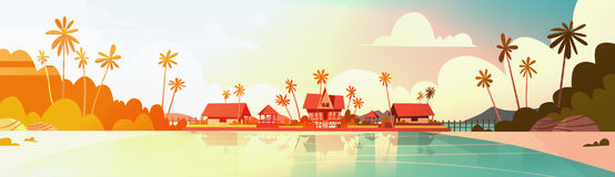 Sea Shore Beach With Villa Hotel Beautiful Sunset Seaside Landscape Summer Vacation Concept. Flat Vector Illustration stock illustration