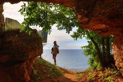 Sea shore cave exploring man Bulgaria royalty free stock photos