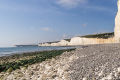 Sea shore and cliffs at Birling Gap. Sea shore and white cliffs at Birling Gap, England Royalty Free Stock Image