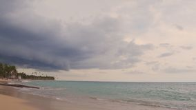 Sea shore in cloudy weather above Royalty Free Stock Image