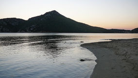 Sea shore in the evening. In Porto Koufo, Greece stock photo