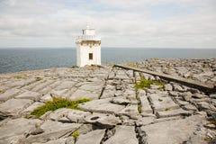 Irish coastline, sea and horizon, broken rock ground with light house Royalty Free Stock Image