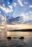 Sea shore landscape with boulders. Sunrise at sea shore landscape with boulders Royalty Free Stock Photos