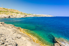 Sea shore line on Rhodes Stock Images