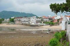 Sea shore at low tide Casco Viejo Panama City Stock Image