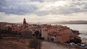 Sea shore near fortified walls in Saint Tropez, French Riviera, France. View of Sea shore near fortified walls in Saint Tropez, French Riviera, France, summer royalty free stock photography