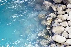 Sea shore ocean Water. The water of the sea and some rocks in the shore stock photography