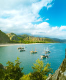 Sea shore panorama with sailboats Royalty Free Stock Images