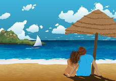 Sea shore picture with couple under parasol. Beautiful background picture. Couple on holidays. Hot vacation. Hot trip. Stock Images