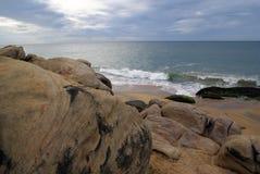 Sea shore and rock. Sea shore and beach in Kirinda, Sri Lanka Stock Image