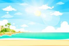 Sea Shore Sand Beach Summer Vacation Blue Sky Stock Image