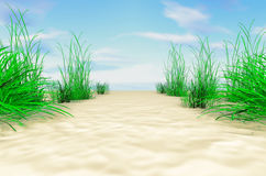On the sea shore. The sandy coast with a grass. Stock Photo