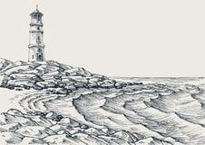 Sea shore and sea waves drawing Stock Image
