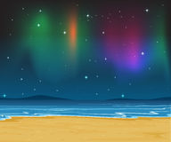 Sea shore and stars in night sky Stock Image