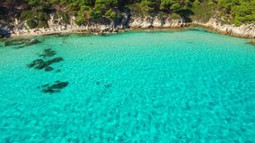 Clear water on sea coast. Sea shore at summer aerial view stock footage