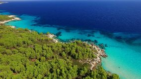 Clear water on sea coast. Sea shore at summer aerial view stock video footage