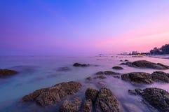Sea shore after sunset at Hua Hin beach, Thailand Stock Images