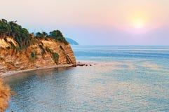 Sea shore sunset Stock Photo