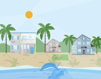Sea shore village Vector illustration flat style. S Royalty Free Stock Photos
