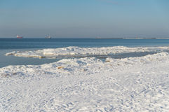 Sea shore in winter Royalty Free Stock Photos