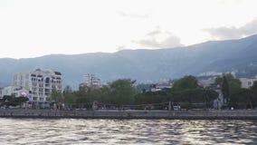 Sea shore of Yalta in the Crimea from the boat. Sea voyage stock video