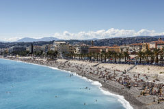 Sea shoreline and beaches, Nice, France Royalty Free Stock Photography