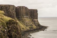 Sea shoreline with Kilt Rock. Skye Island, Scotland Royalty Free Stock Photo