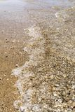 Sea shoreline with waves, sandy beach with seashells on a clear sunny day, close-up nature abstract background. The sea shoreline with waves, sandy beach with stock images