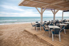 Sea side bar interior with wooden floor Royalty Free Stock Image
