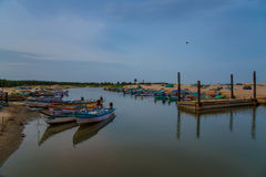 Sea side beauty in Chidambaram, south India. Boats standing in the river at Chidambaram, south India Royalty Free Stock Images