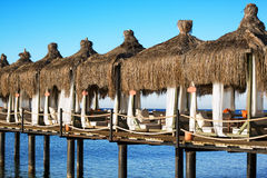 Sea side bungalows Stock Images