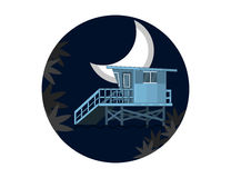 Sea Side Night Landscape With Lifeguard House on a Beach and Moon in Flat Design. Royalty Free Stock Image